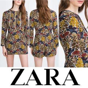 Zara Trafaluc Mod 60's/70s Floral Skort Dress Romper with Lace Detail Sz L